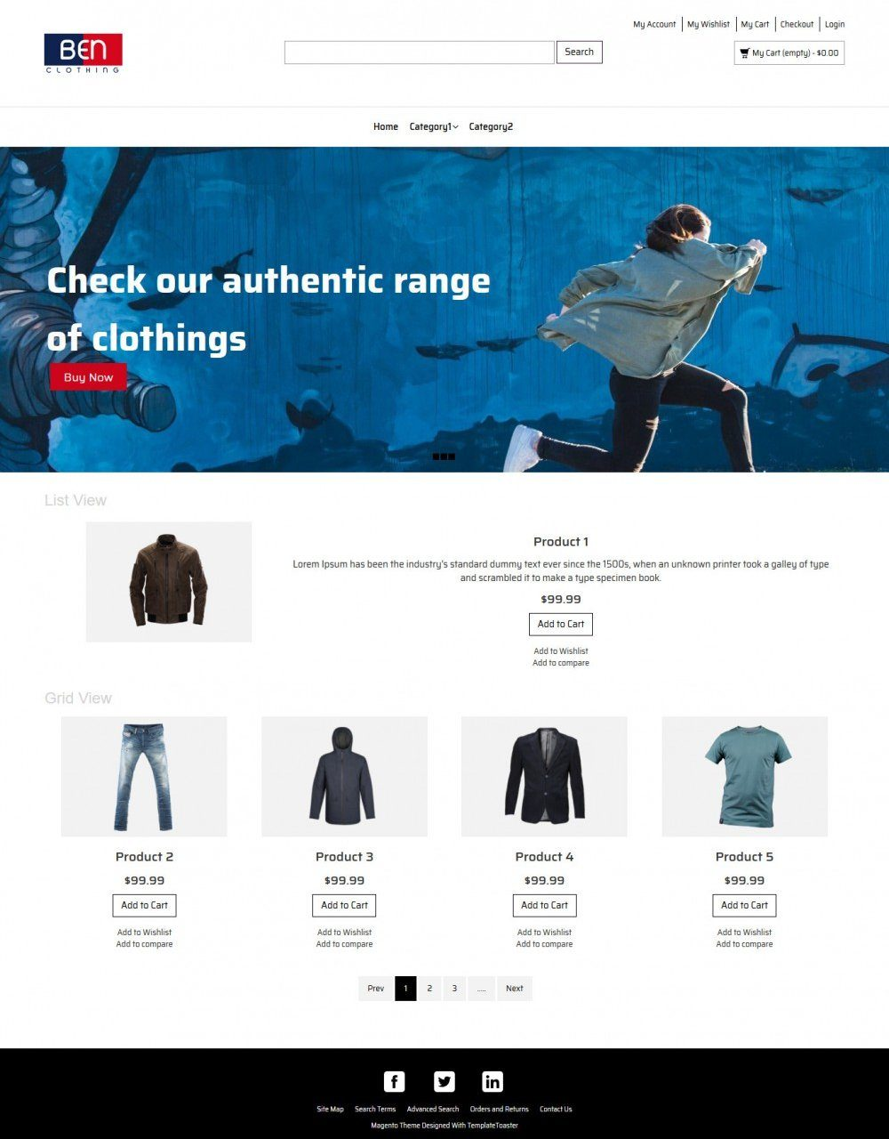 Ben Clothing- Online Cloth Store Magento Theme
