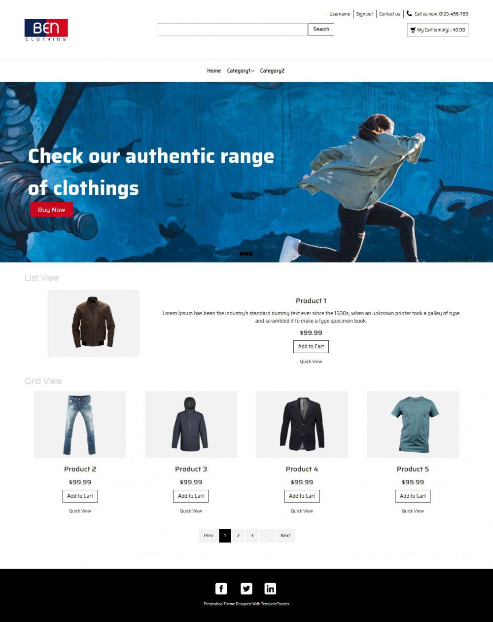 Ben Clothing Online Cloth Store Prestashop Theme
