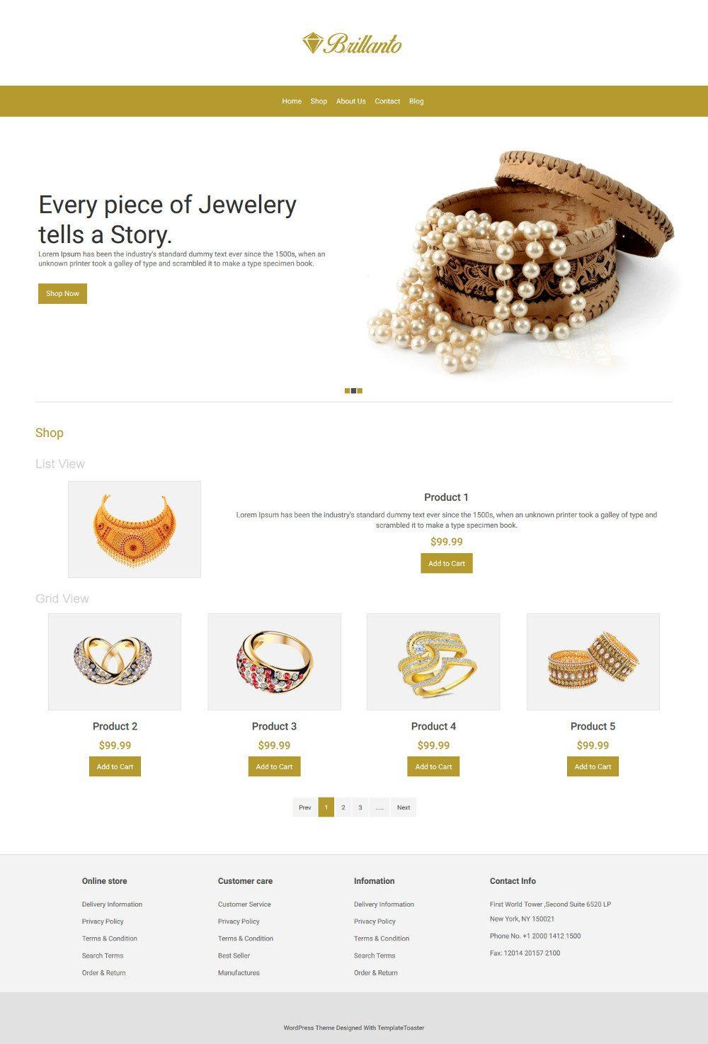 Brillanto Jewellery Store WooCommerce Theme