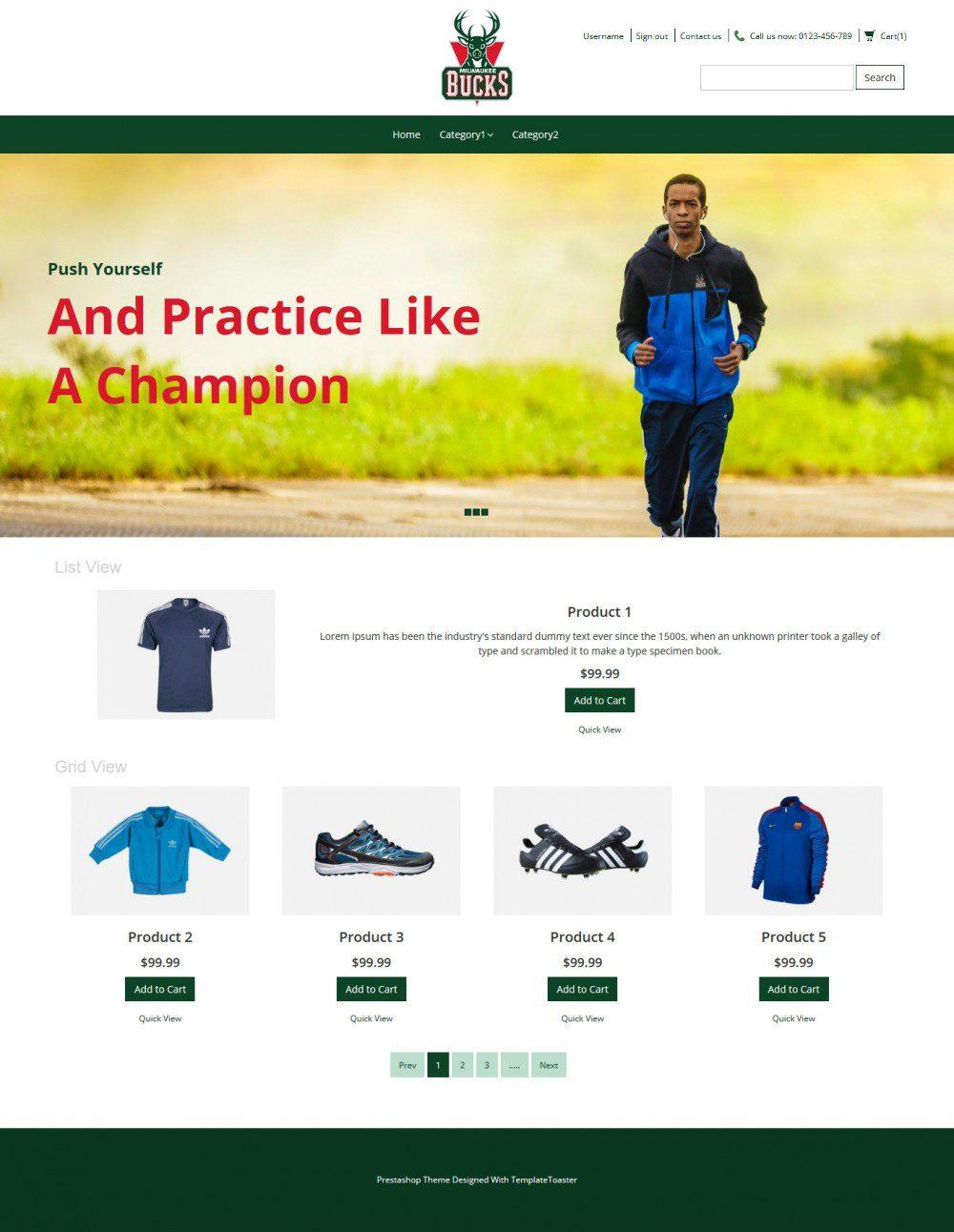 Bucks Sport Sports Items PrestaShop Theme