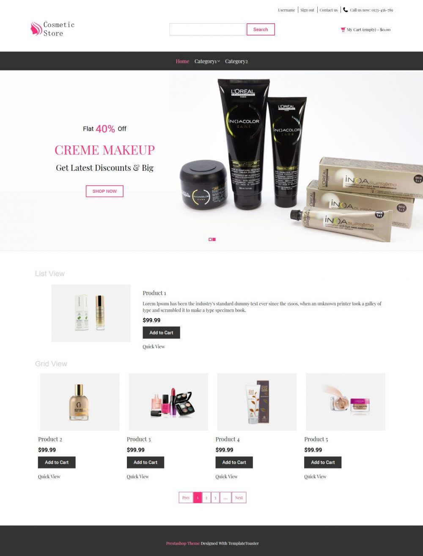 Cosmetic Store - Beauty Shop PrestaShop Theme