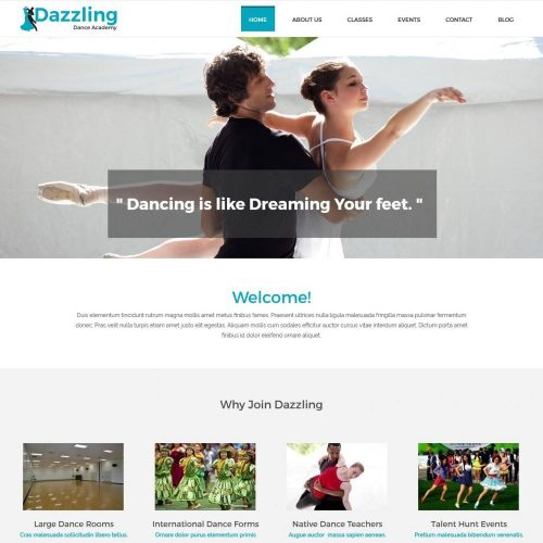 Dazzling Dance Academy - WordPress Theme for Dance Academy