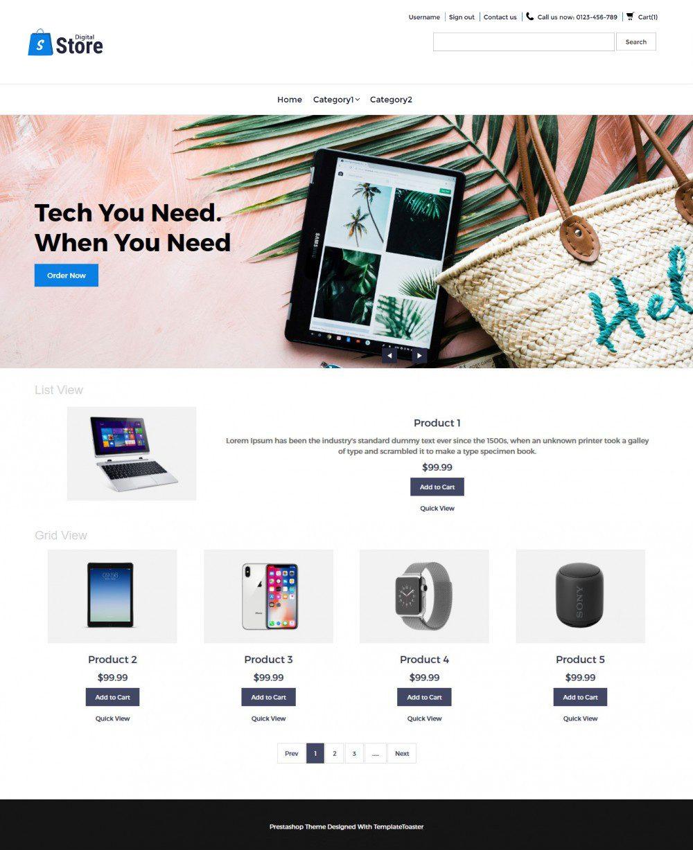 Digital Store Digital Products PrestaShop Theme