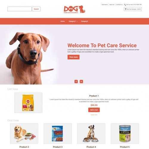 Dog Animal Food and Accessories Online store Prestashop Theme