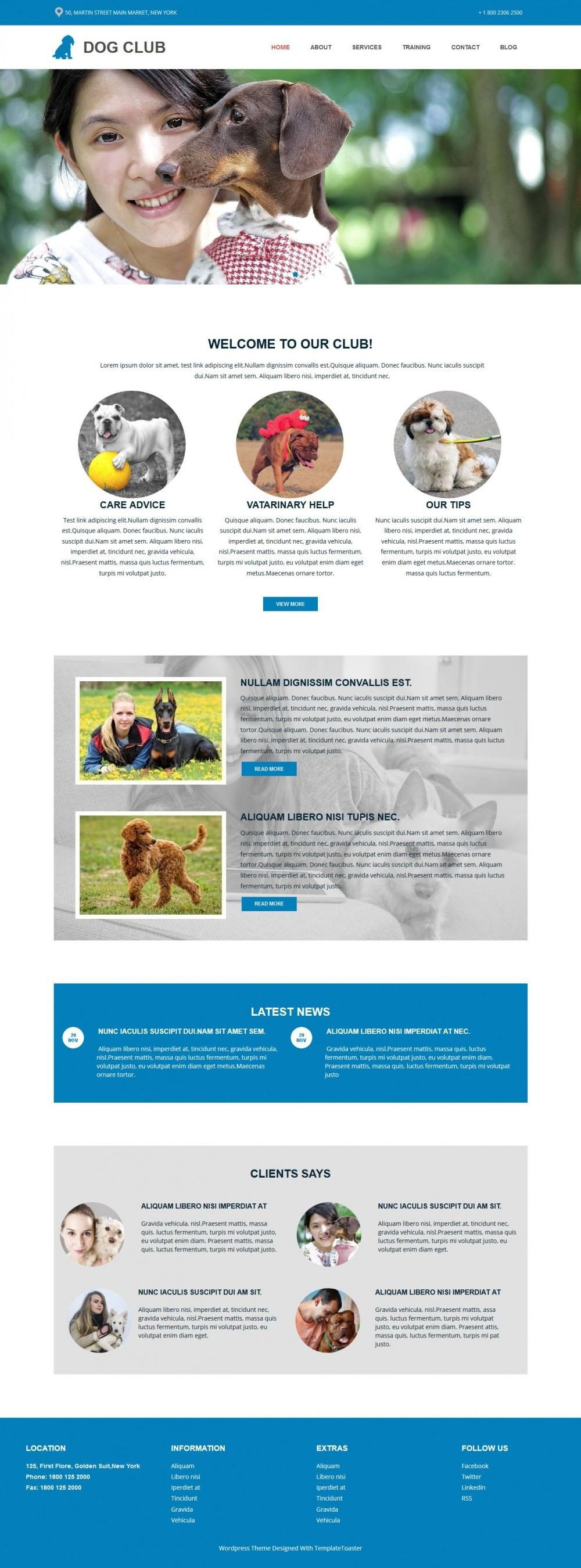 Dog Club - WordPress Theme for Dog Club