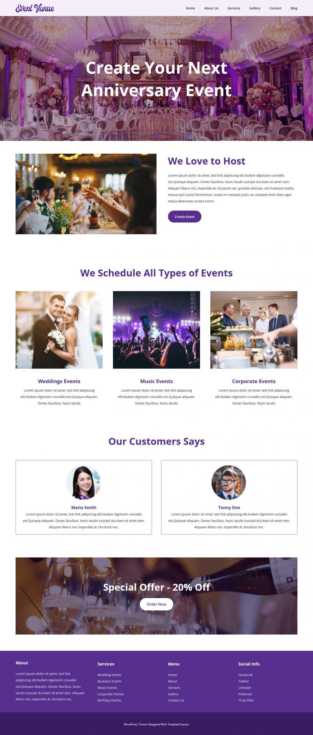 Event Venue Event Management Free WordPress Theme