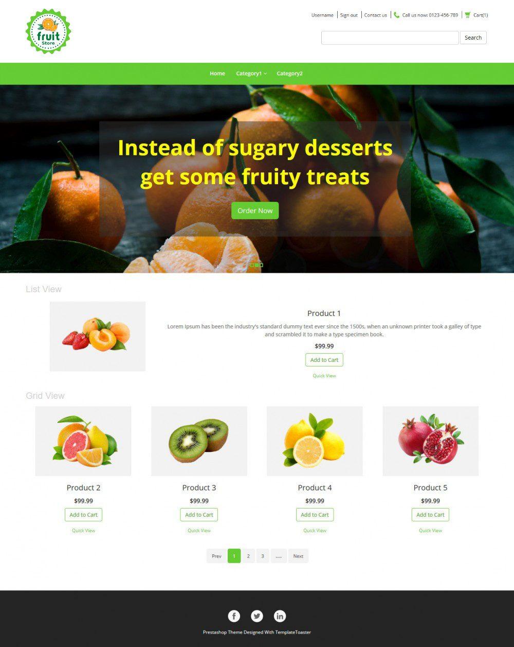Fruit store Online Fruit Store PrestaShop Theme