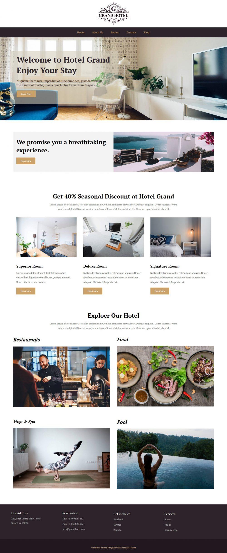 Grand Hotel Hotels And Resort Free WordPress Theme