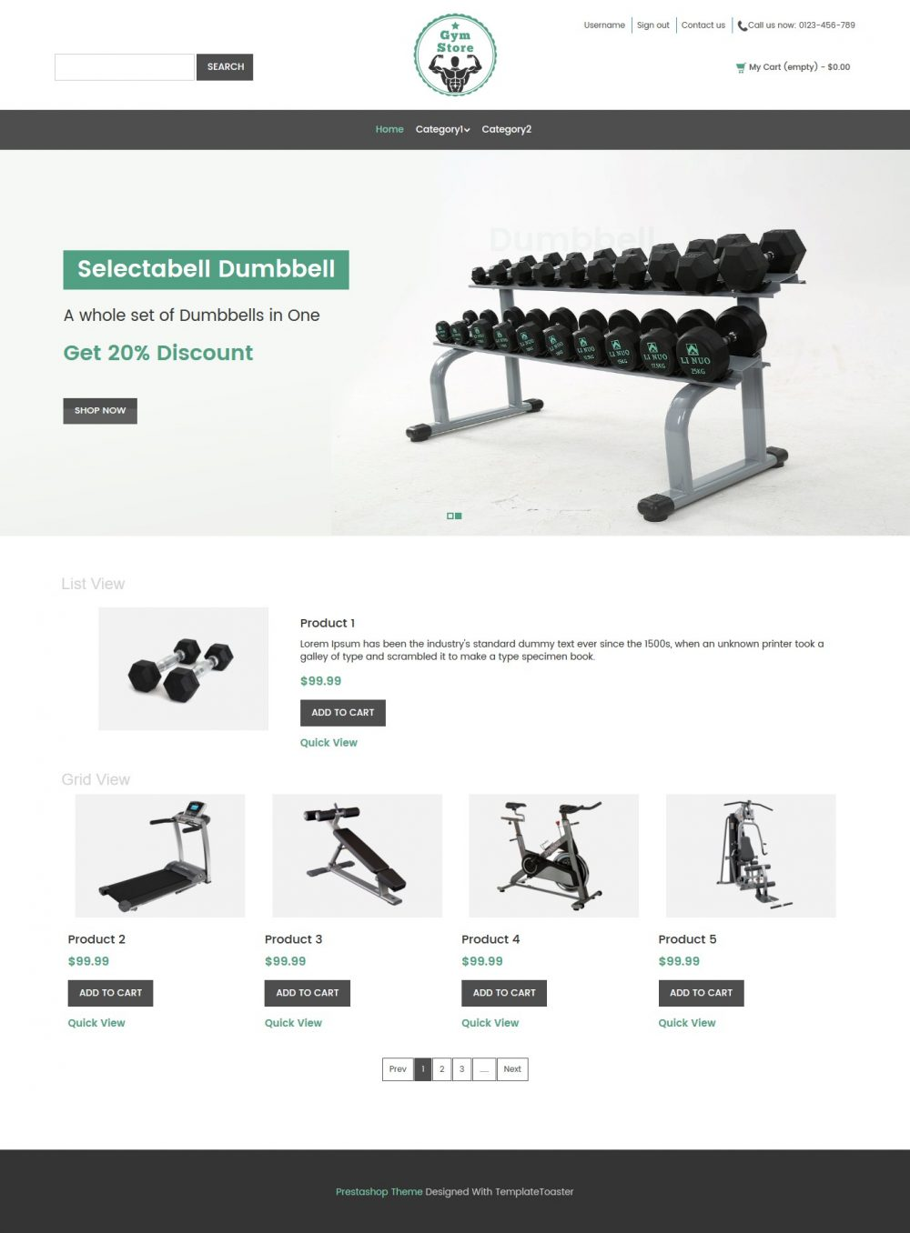 Gym Store - Fitness Equipment Shop PrestaShop Theme