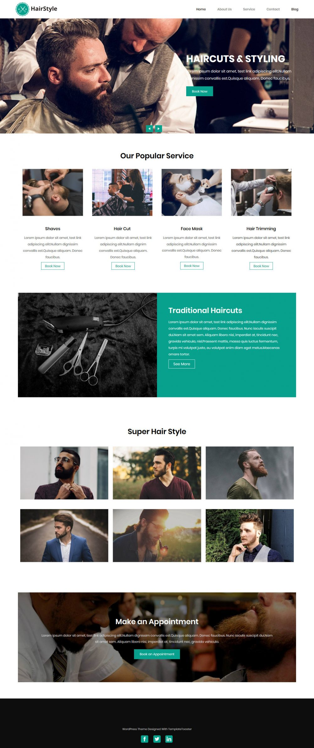 Hairstyle Barber Shop Free WordPress Theme