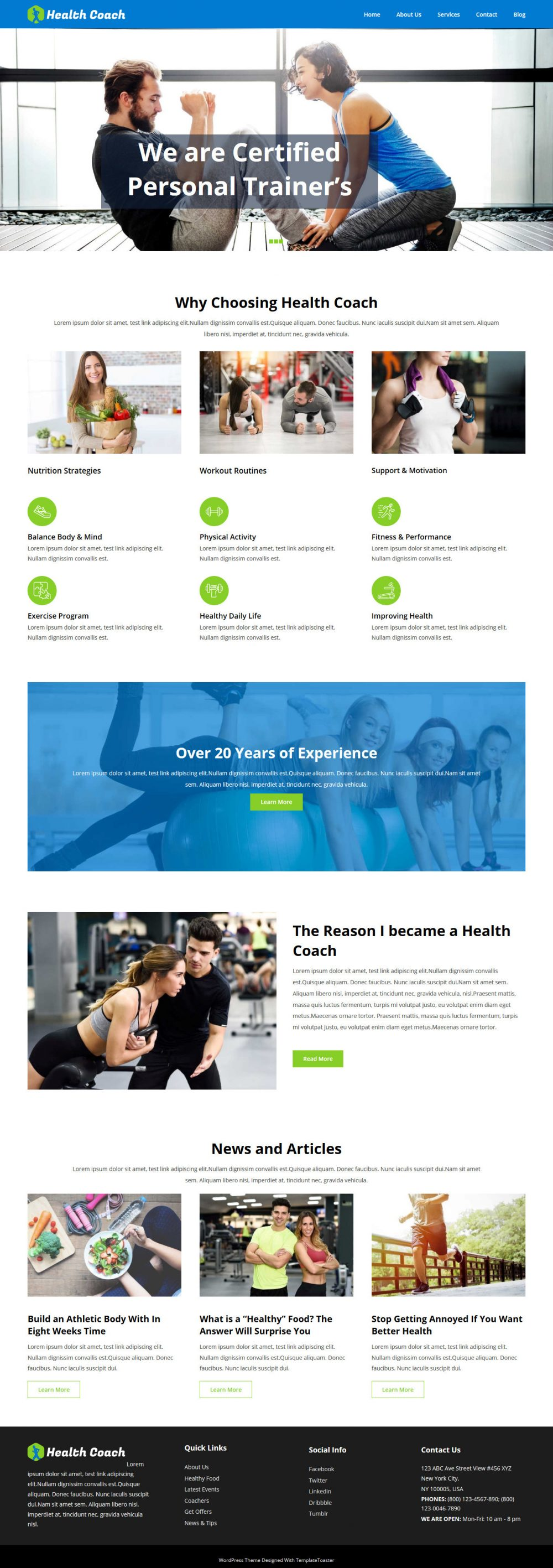 Health Coach Free Joomla Template For Health Industry