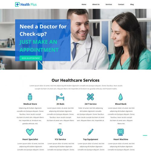 Health Plus Free Joomla Template For Health Industry