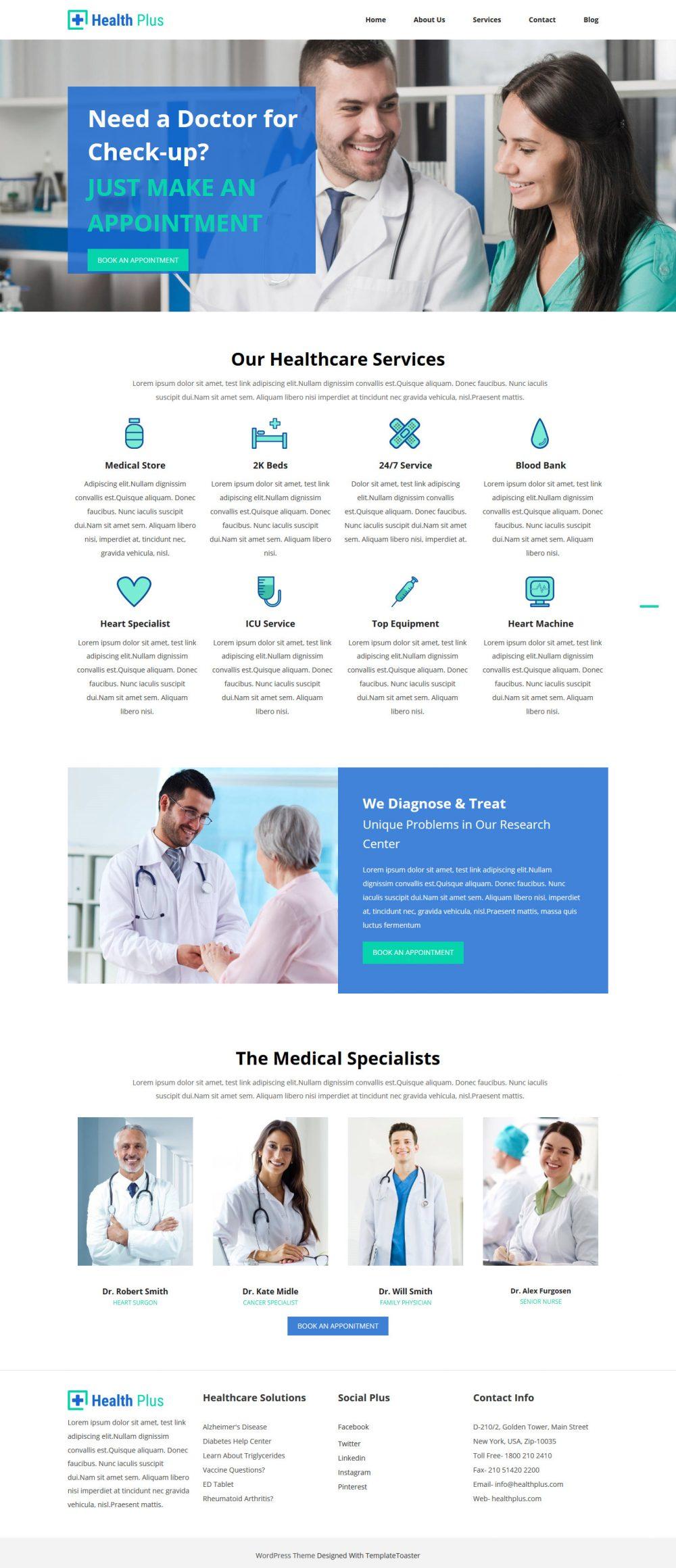 Health Plus Free WordPress Theme For Health Industry