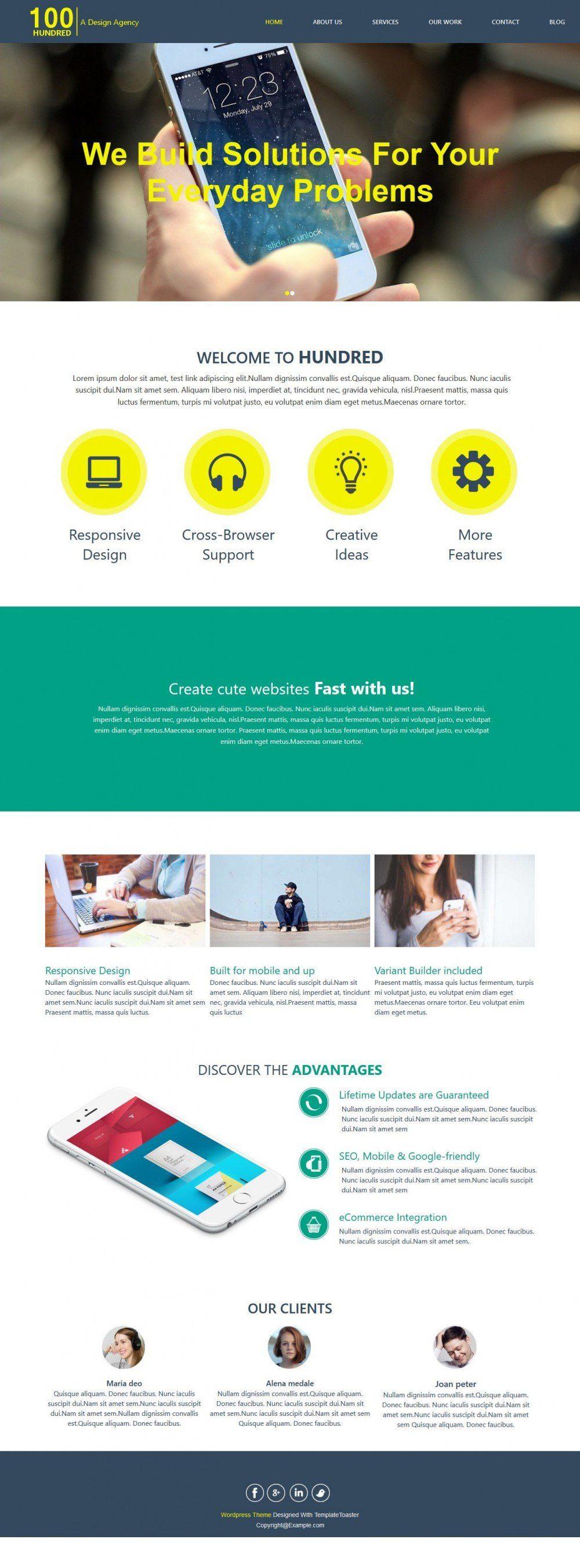 Hundred - Responsive App Design/Development WordPress Theme