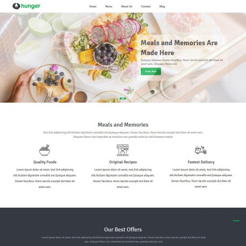 Hunger Free Joomla Template For Restaurants