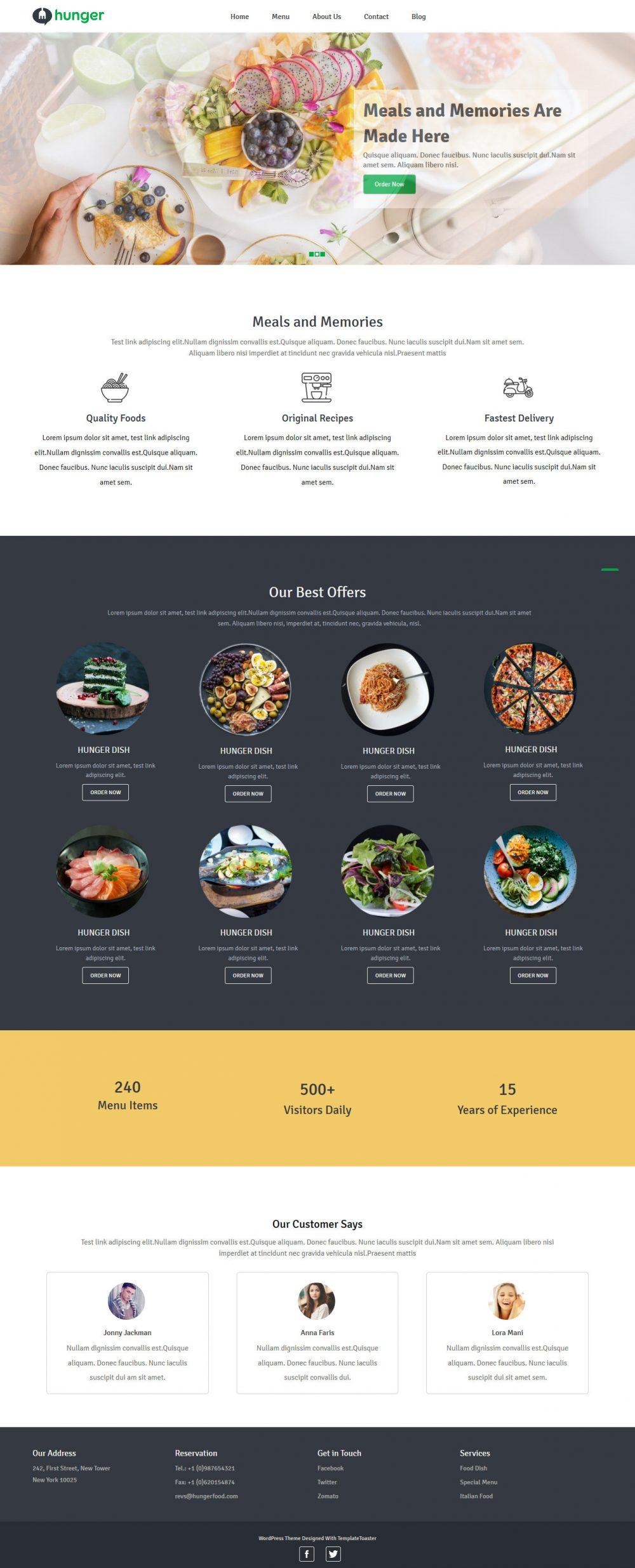Hunger Free WordPress Theme For Restaurants
