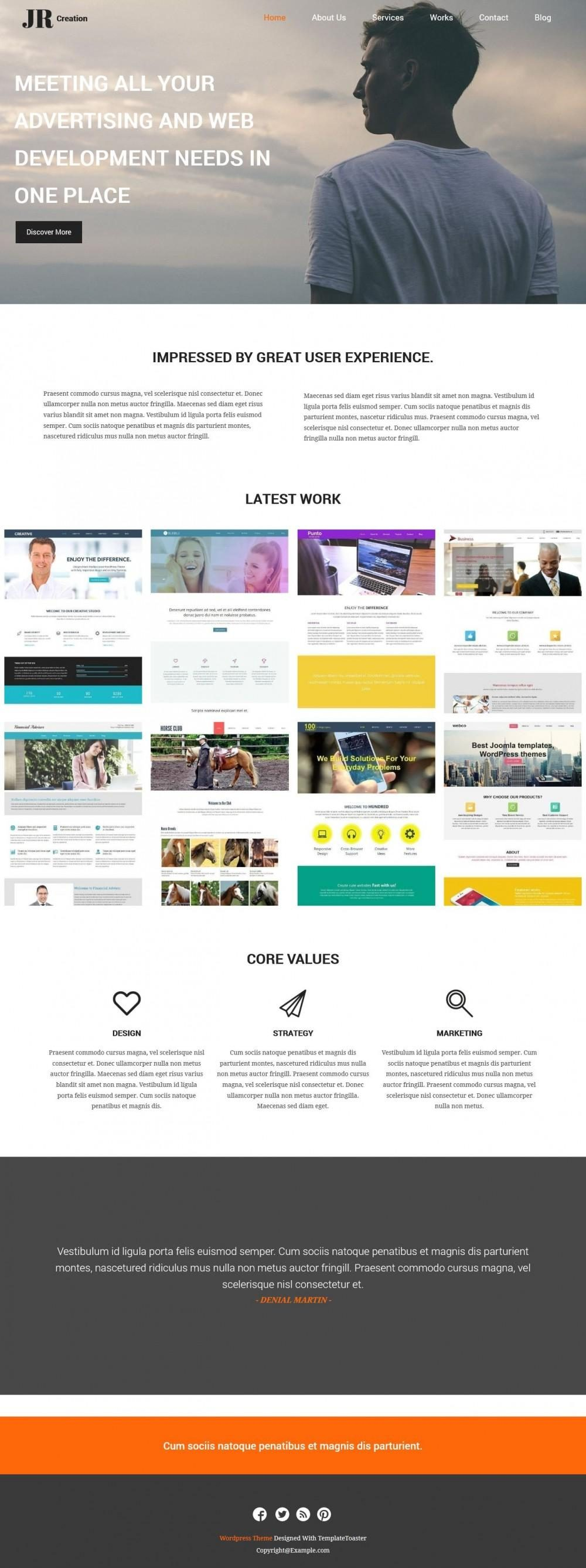 JR Creation - WordPress Theme for Web Designer Portfolio