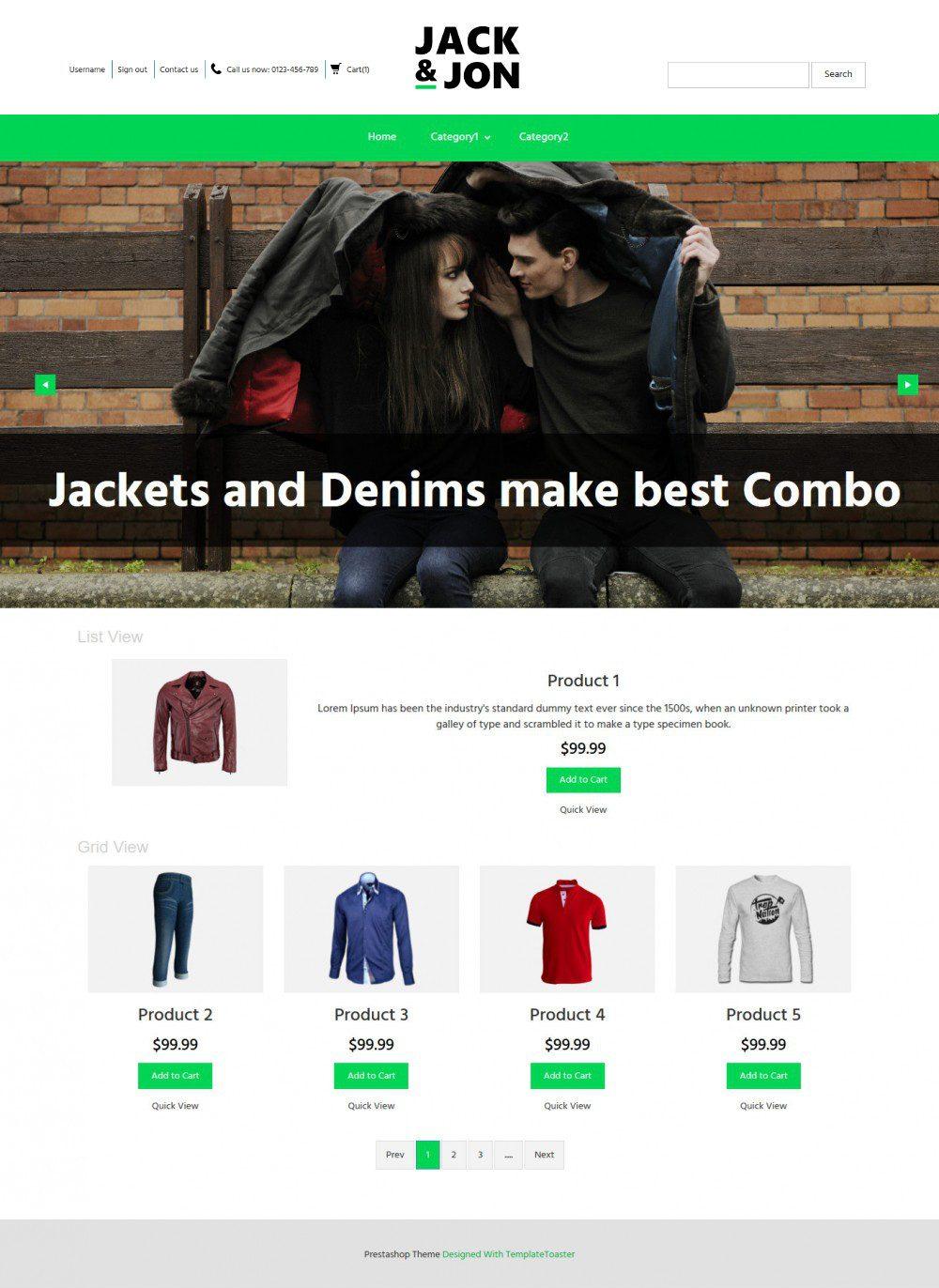 Jack & Jon Clothing Prestashop Theme