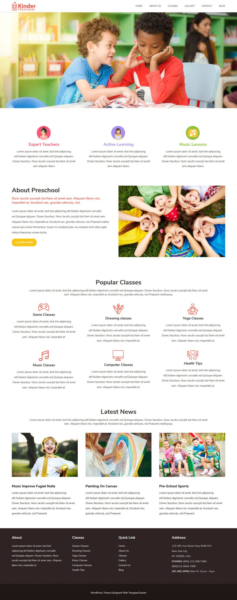Kinder PreSchool Free WordPress Theme