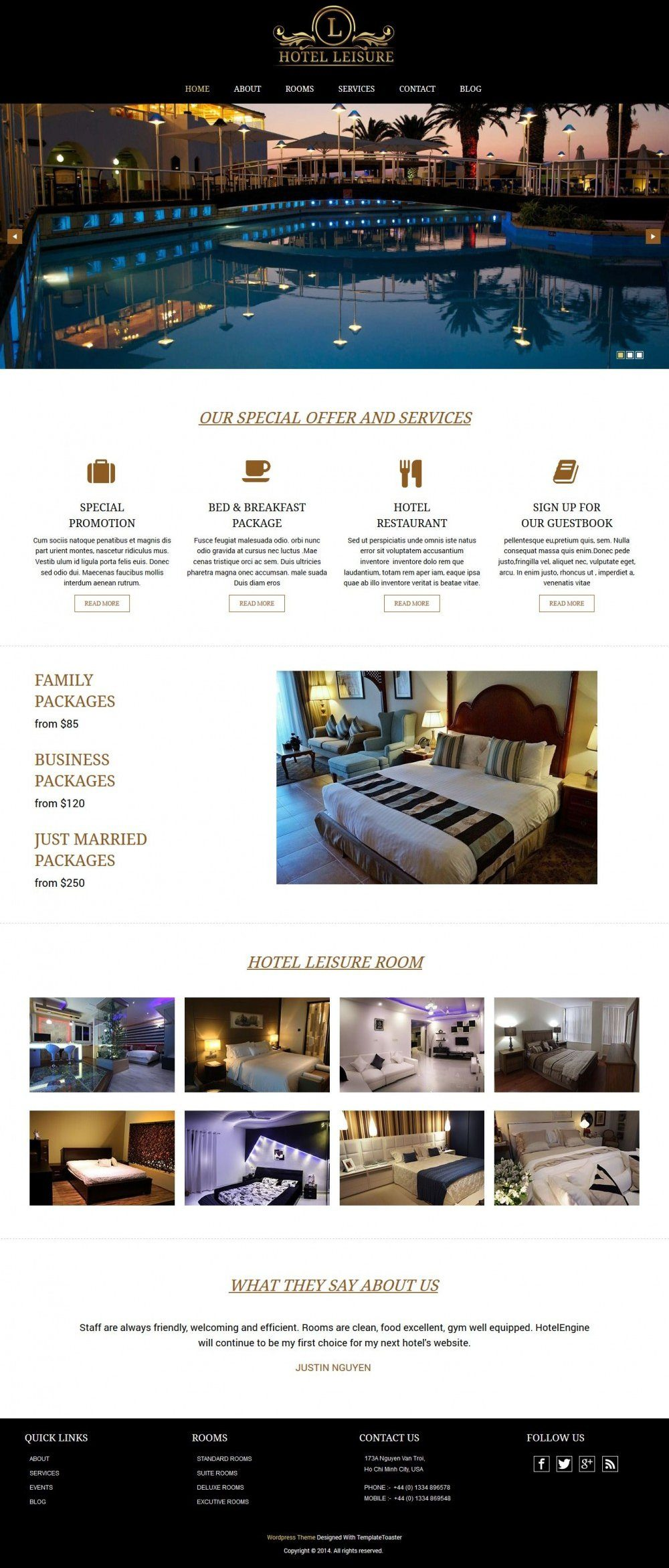Leisure - Hotel-Restaurant Multipurpose WordPress Theme