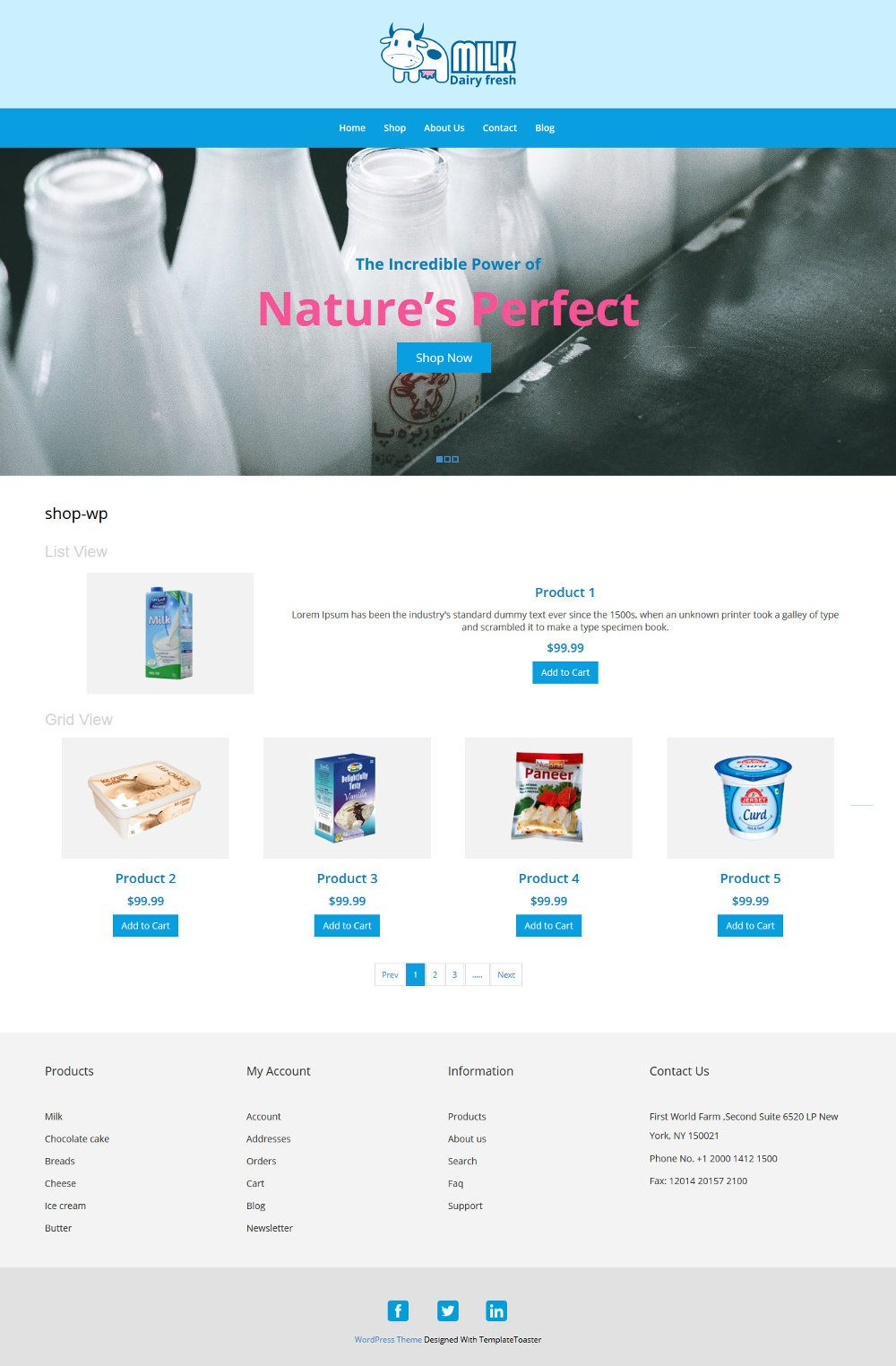 Milk Dairy Fresh Dairy Products WooCommerce Theme
