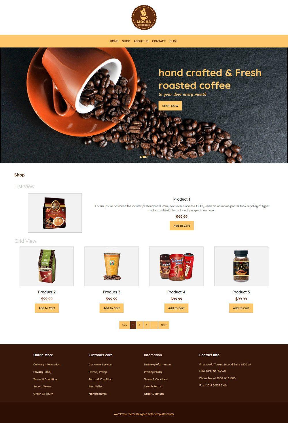 Mocha Coffee Shop WooCommerce Theme