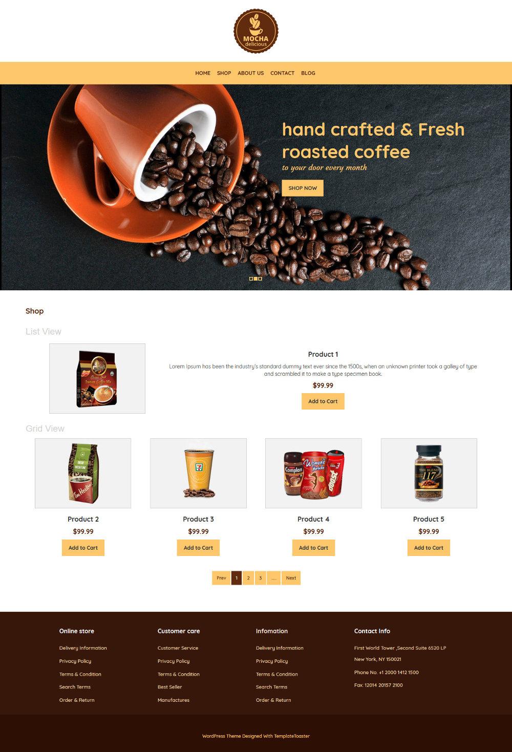 mocha - coffee shop woocommerce theme