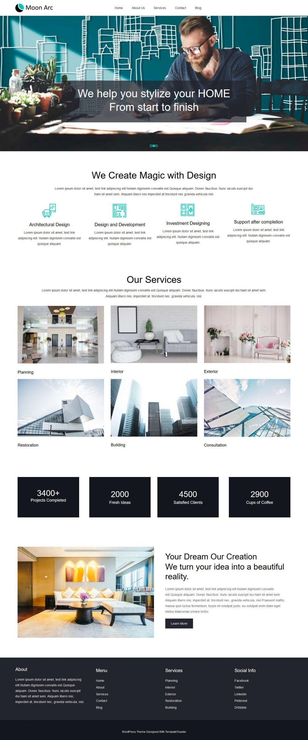 Moon Arc Interior Design Studio Free WordPress Theme