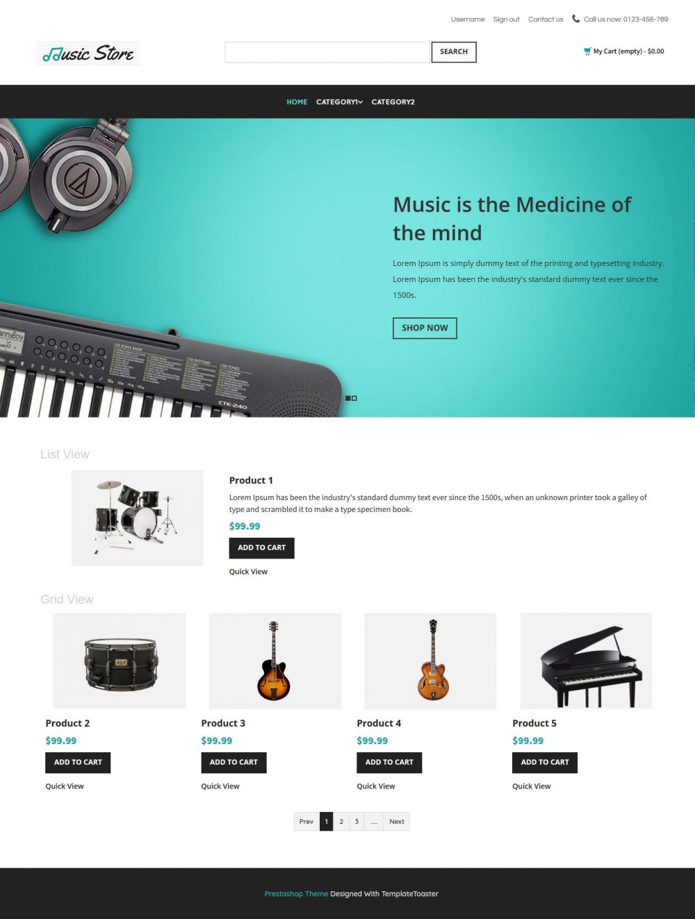 Music Store - Music Instruments Prestashop Theme