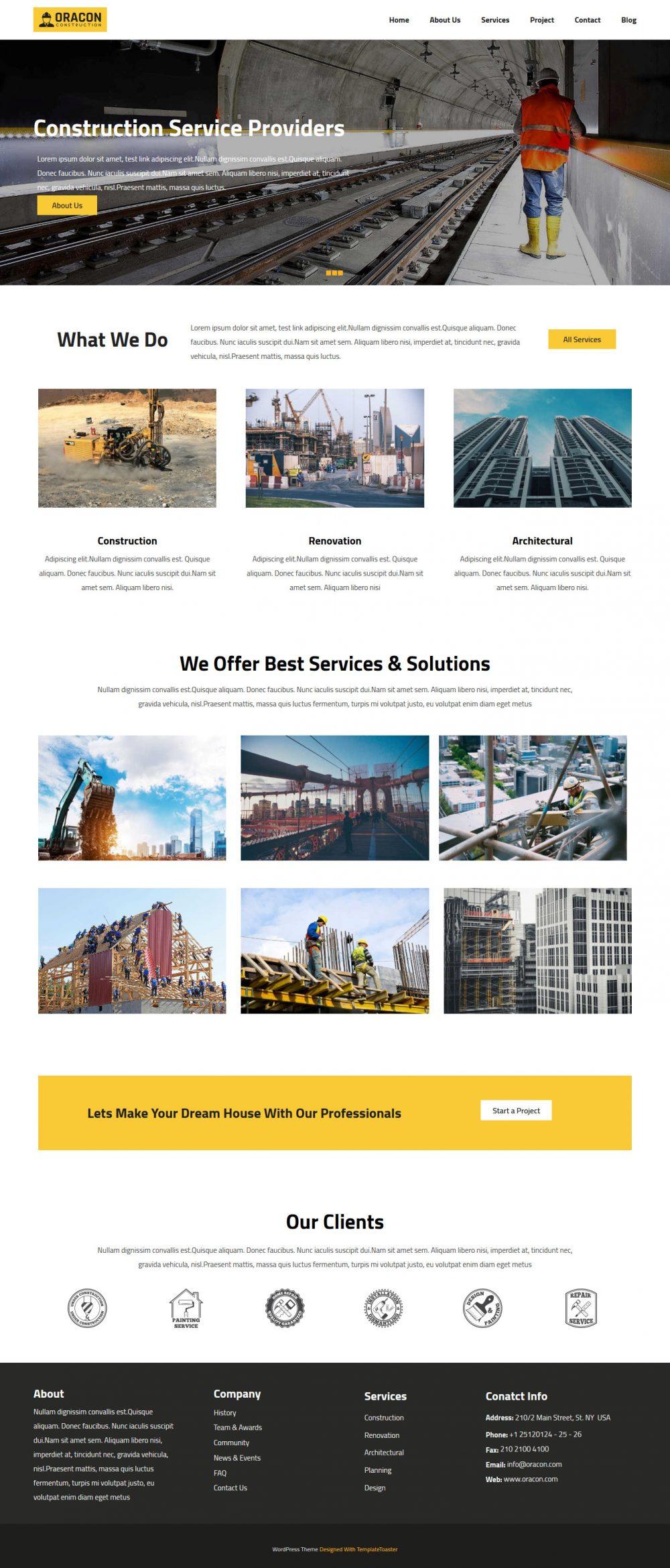 Oracon Construction Company Free WordPress Theme