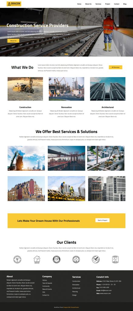 Oracon Construction Company WordPress Theme - TemplateToaster