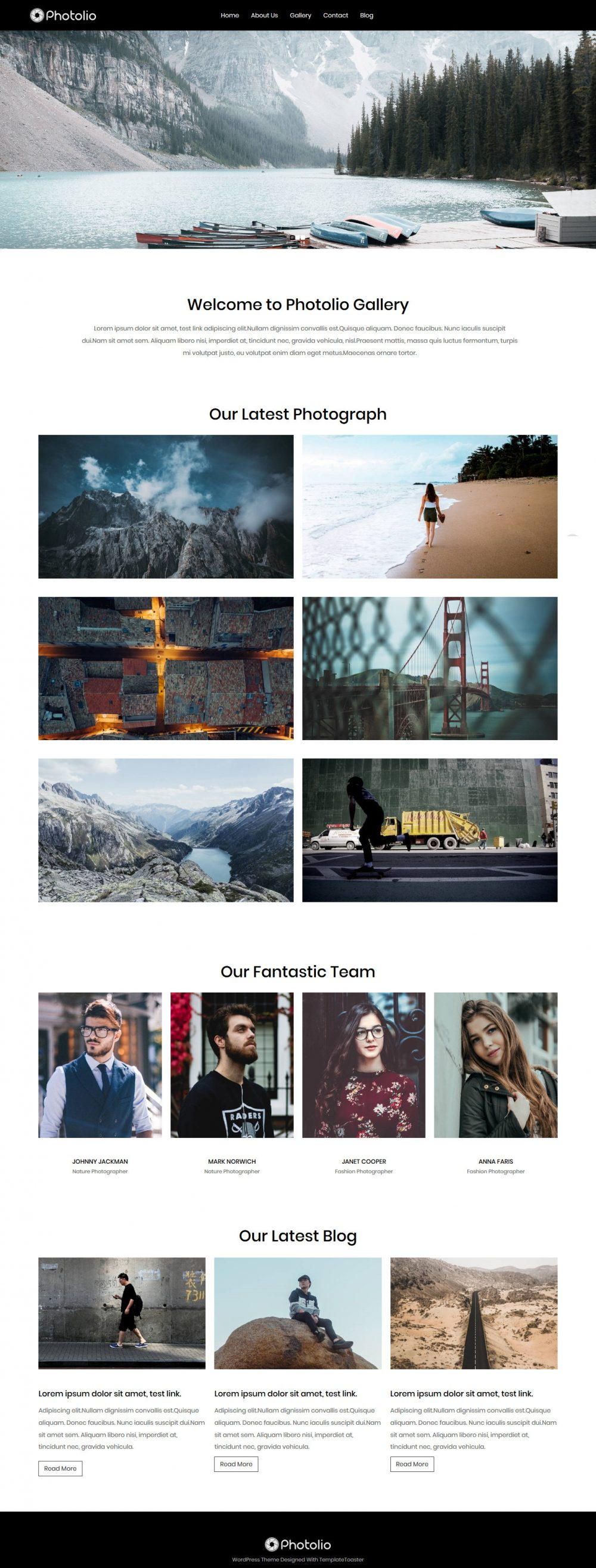 Photolio Photography Free WordPress Theme