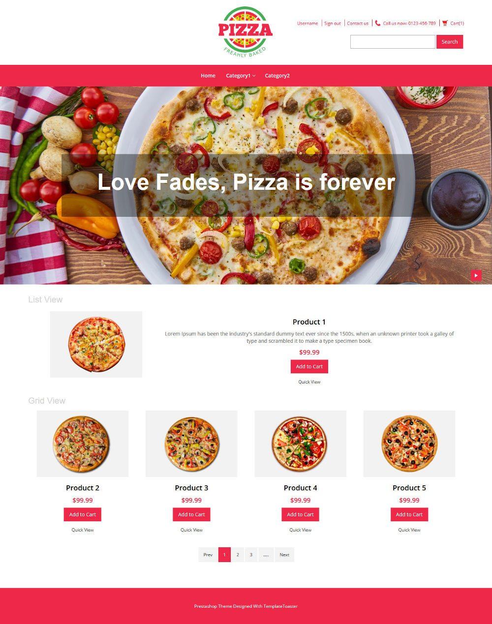 Pizza Store PrestaShop Theme