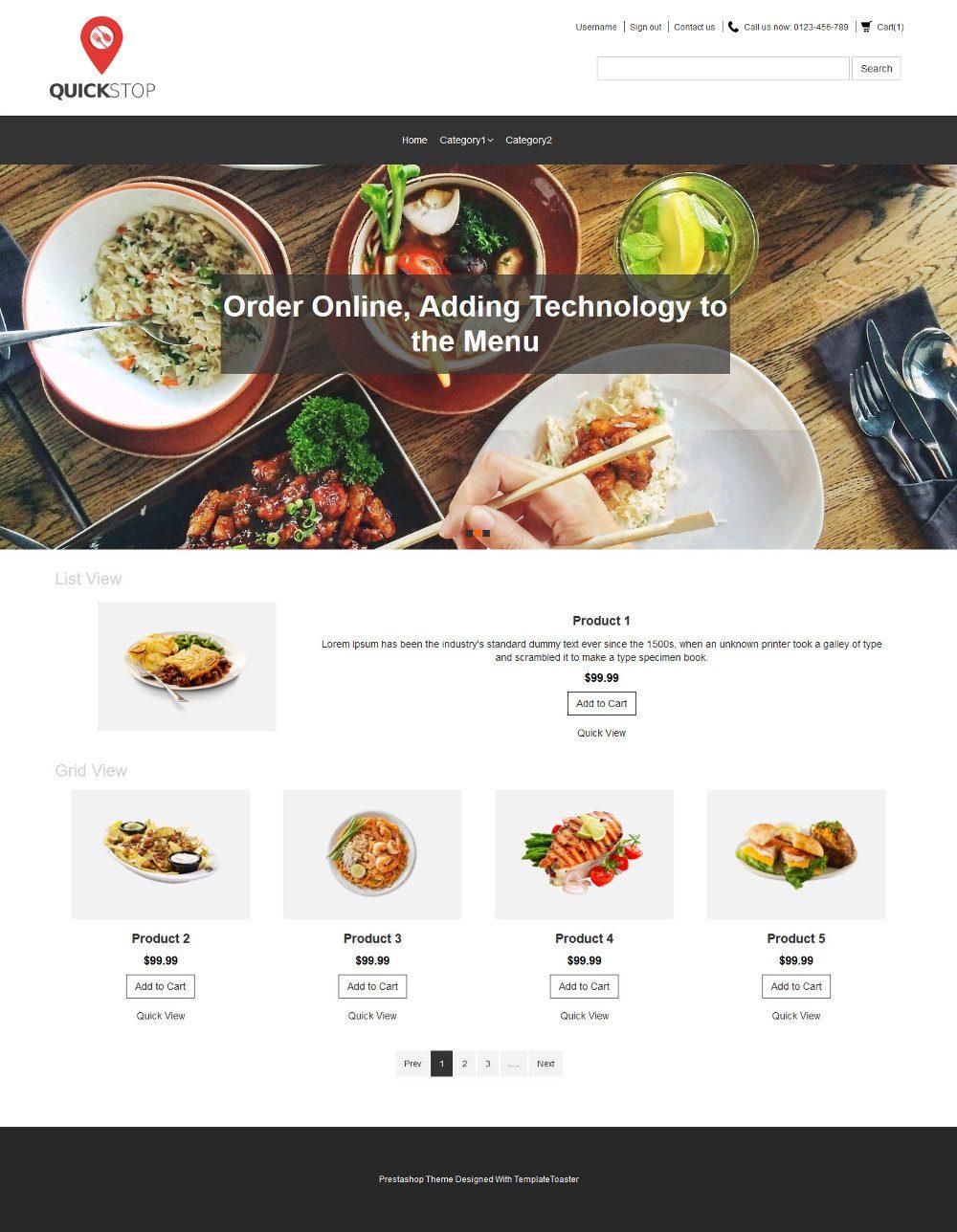 Quick Stop Online Restaurant PrestaShop Theme