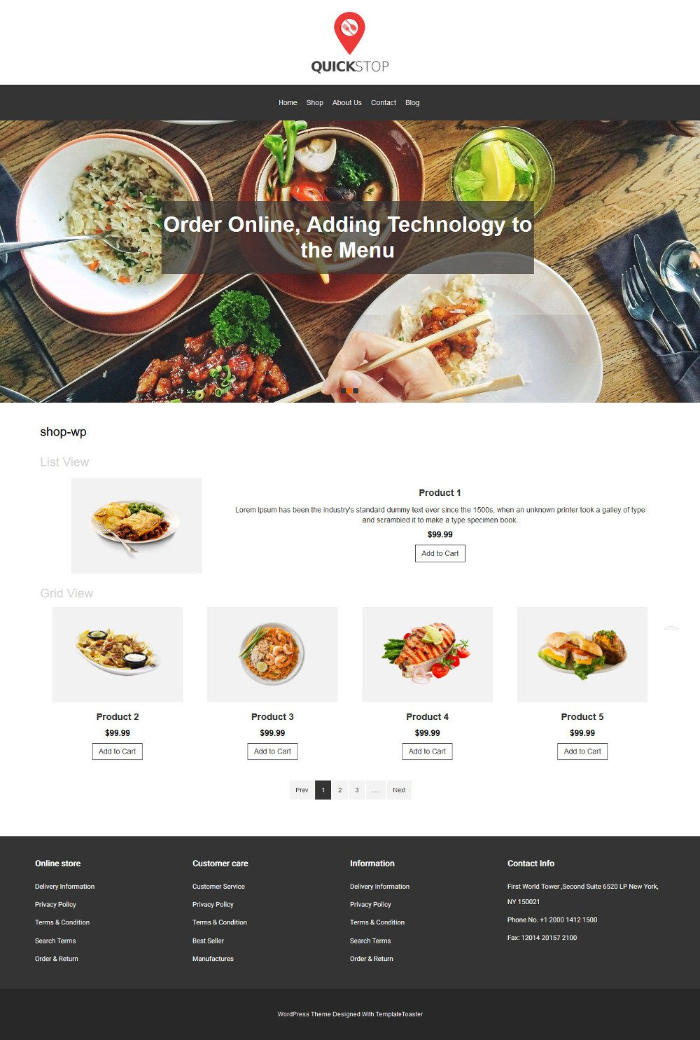 Quick Stop Online Restaurant WooCommerce Theme