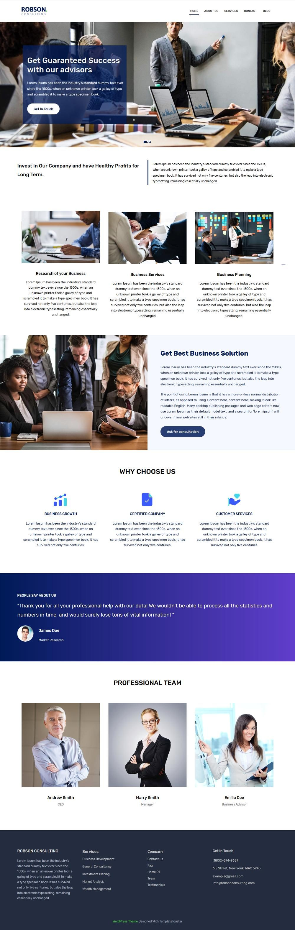 Robson Consulting - Business Consulting Free WordPress Theme
