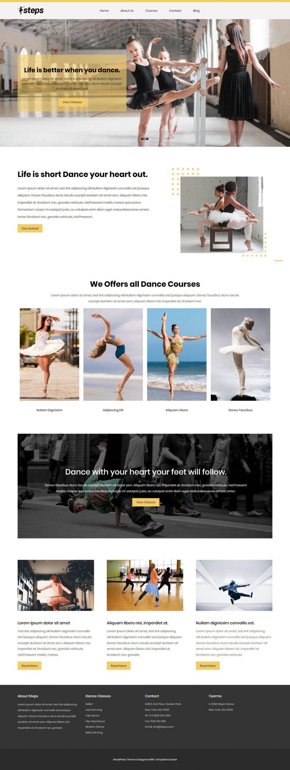 Steps Dance School Free WordPress Theme