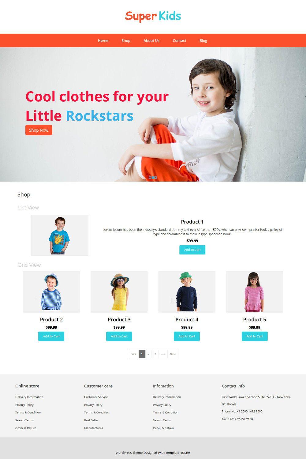 Super Kids Clothing WooCommerce Theme