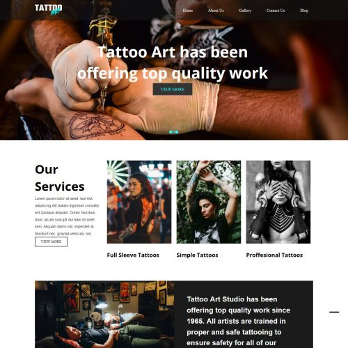 Tattoo Art Tattoo Studio Free WordPress Theme