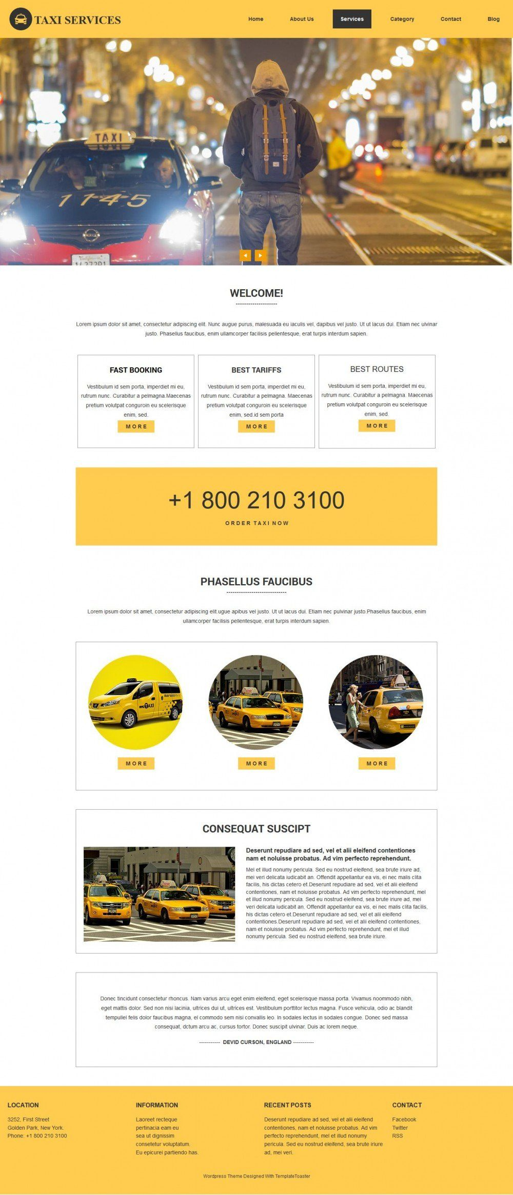 Taxi - Free WordPress Theme For Taxi Service