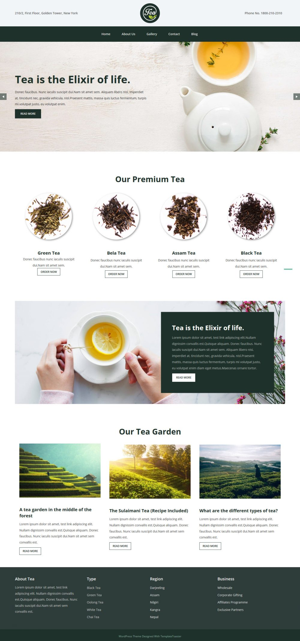 Tea And Coffee Company Free WordPress Theme