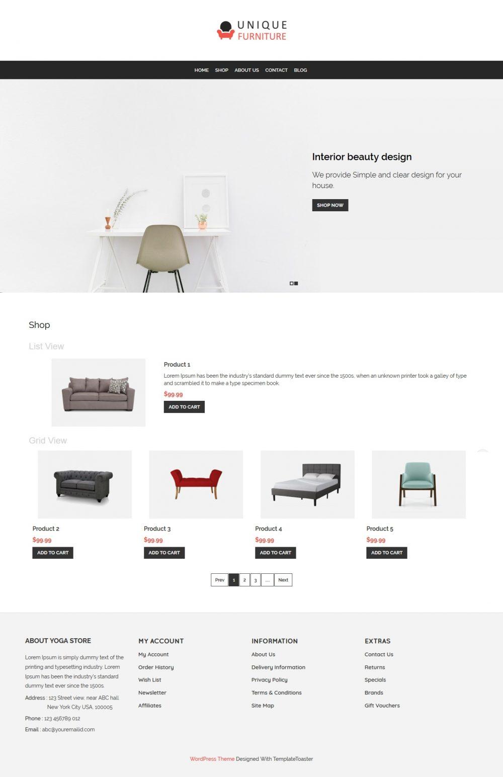 Unique Furniture - Furniture Shop WooCommerce Theme