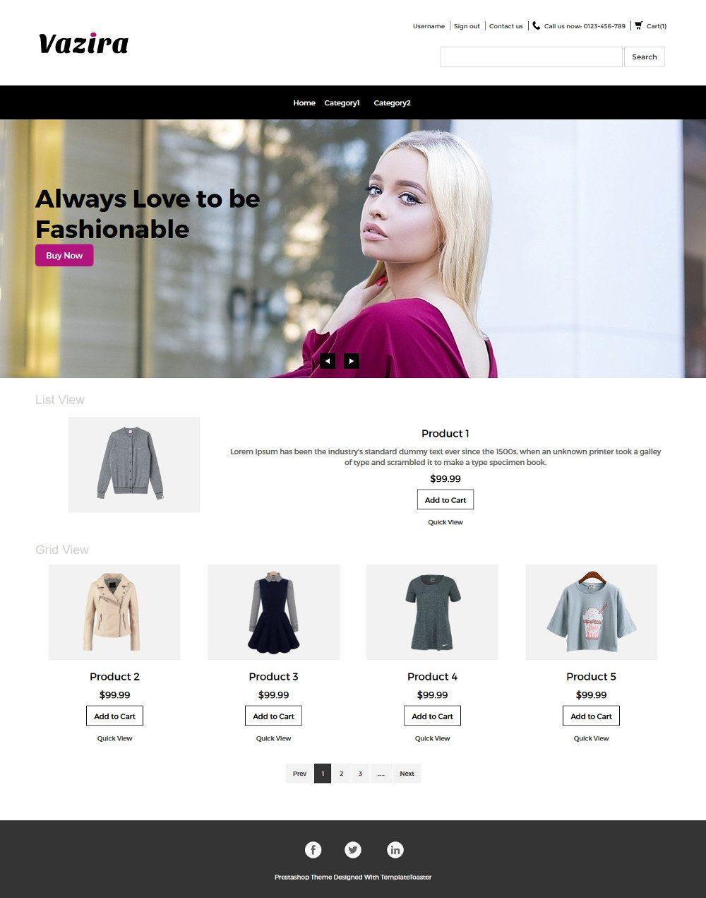 Vazira Fashion Clothes and Accessories PrestaShop Theme