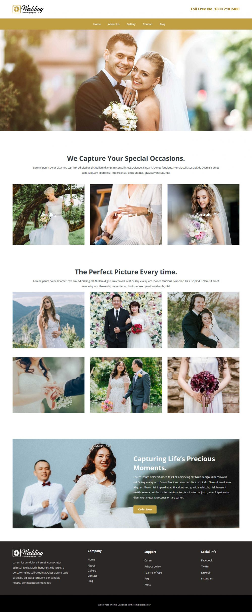 Wedding Photography Photography Free WordPress Theme