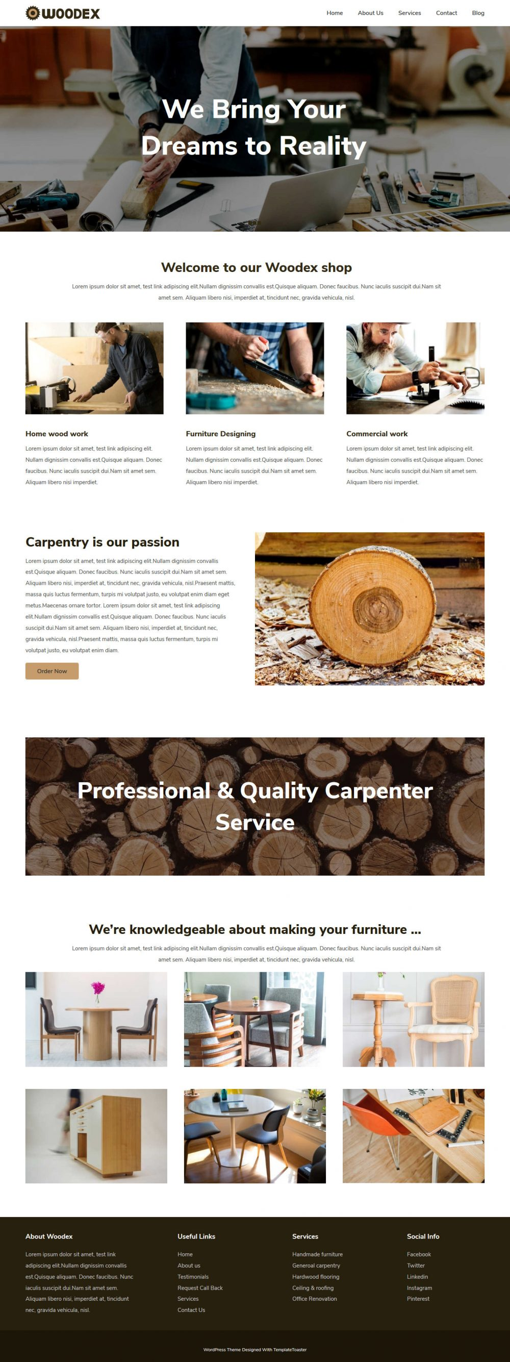 Woodex Carpenter Free Joomla Template