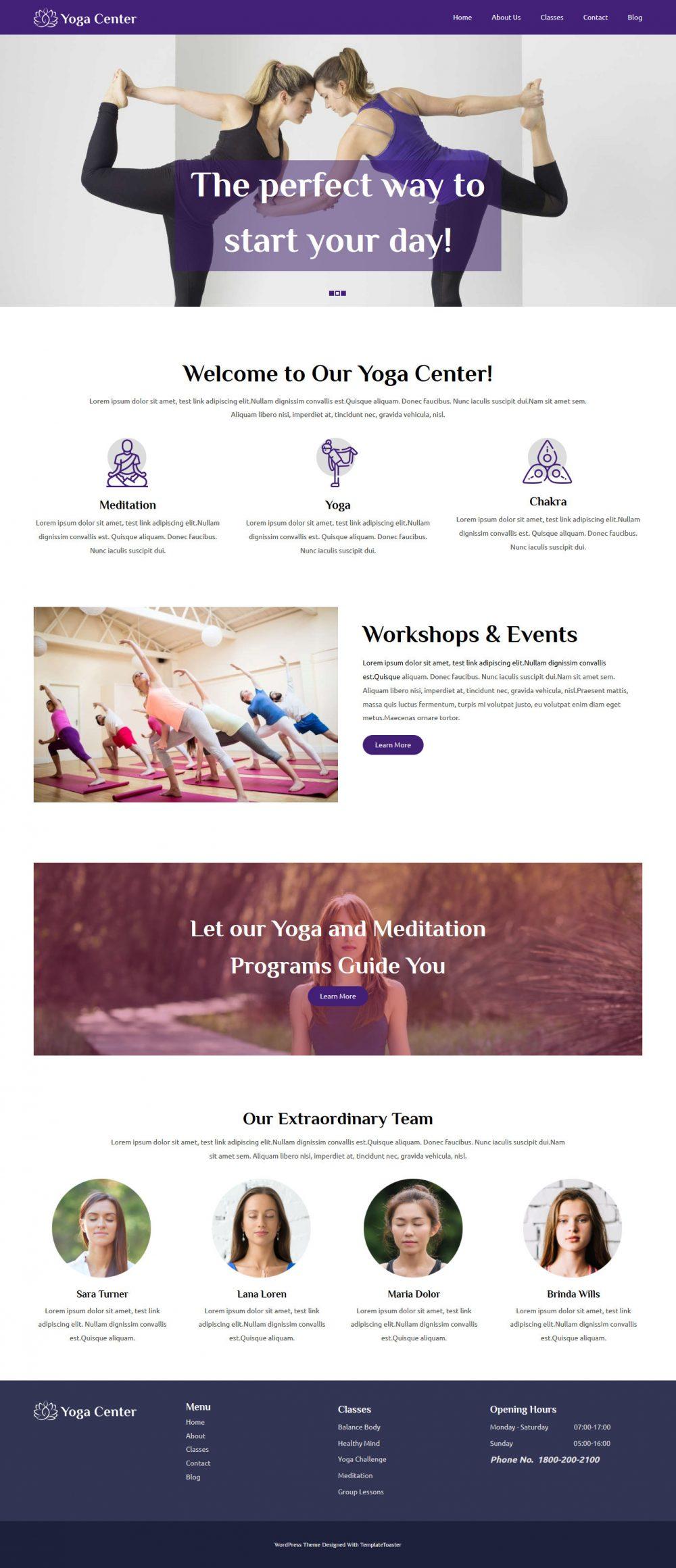 Yoga Center Yoga WordPress Theme