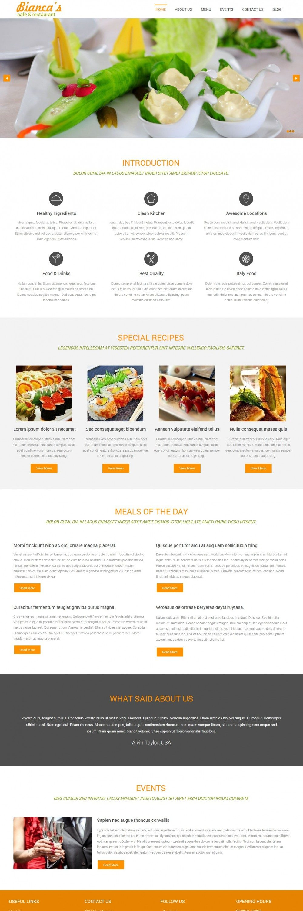 Bianca - Restaurant/Cafe WordPress Theme