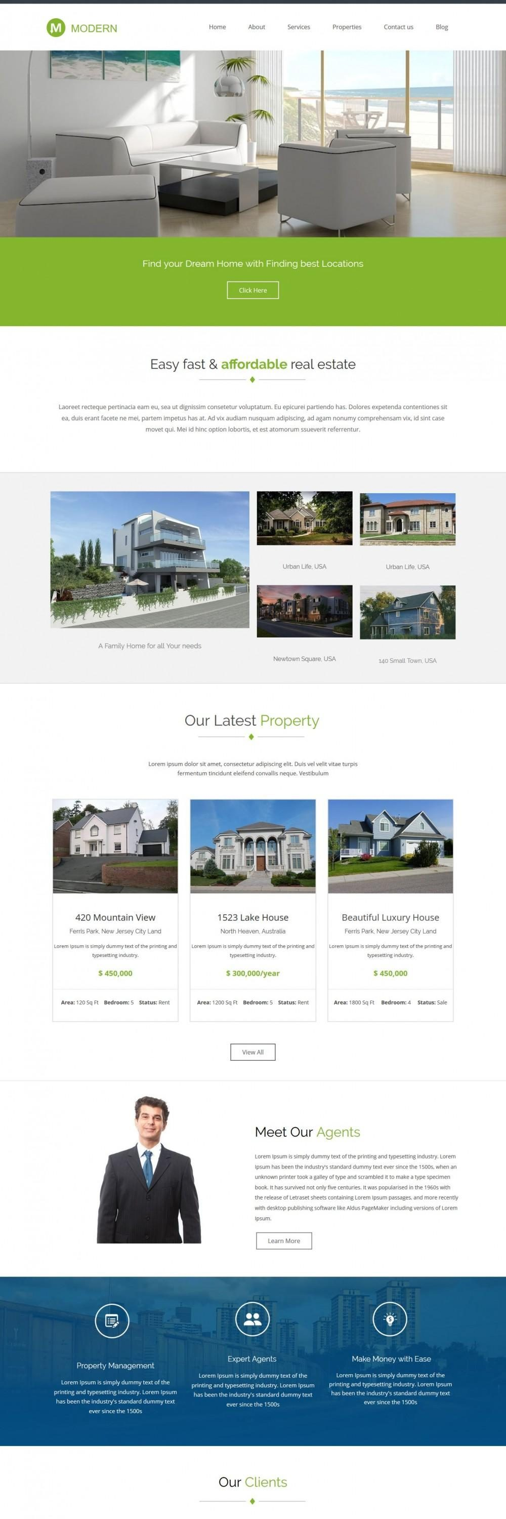 Modern - WordPress Theme for Real Estate/Interior Designs