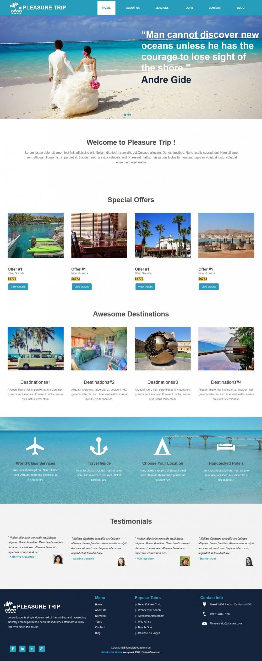 Pleasure Trip - WordPress Theme for Travel Agency