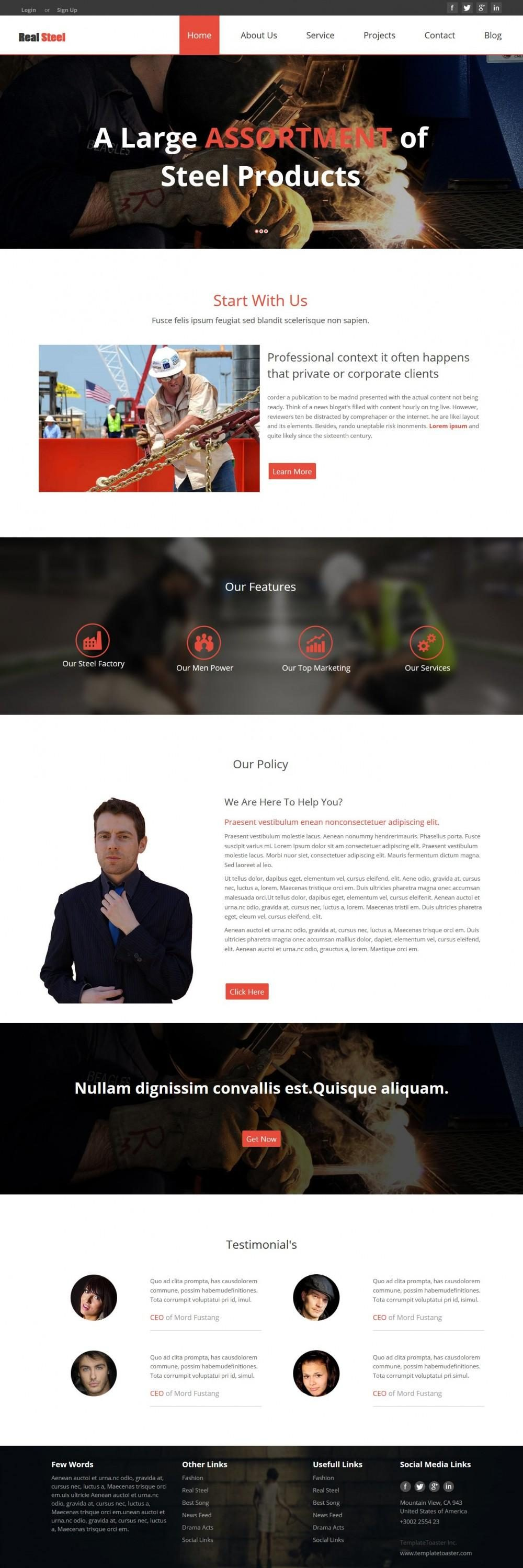 Real Steel - WordPress Theme for Steel Factories